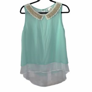 Jella Couture mint green blouse tank sheer layered